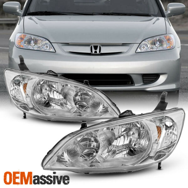 Fits 2004 2005 Honda Civic Left + Right Side Headlights Front Lamps Pair 04 05