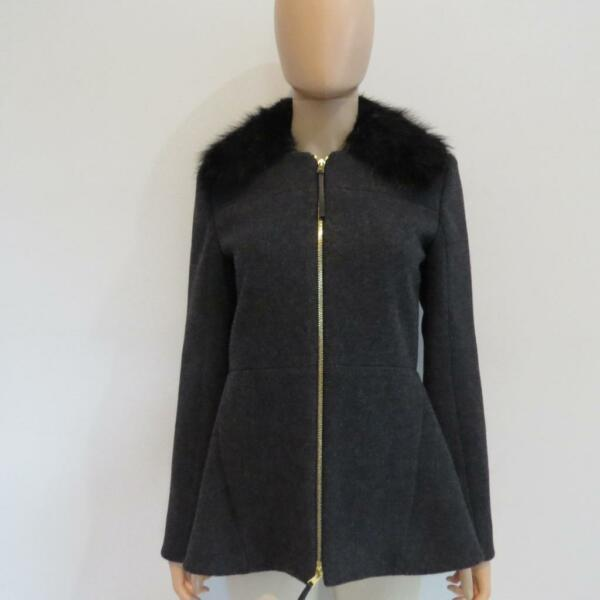 Marni Grey Wool Blend wBeaver Fur Collar CoatJacket Size 40US 4