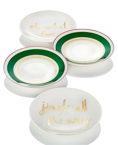 Lenox Kate Spade Christmas Arbor Village Set of 4 Tidbit Appetizer Plates #C396