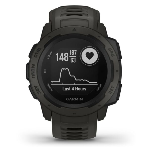 Garmin Instinct Rugged Outdoor GPS Watch Graphite Wrist HRM GLONASS 010-02064-00