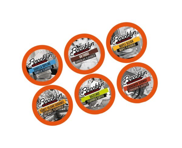 Brooklyn Beans Flavored Coffee Variety Pack Pods for Keurig K Cups Coffee Mak...