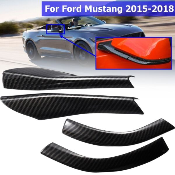 Rearview Mirror Base Cover Trim Decor 4Pcs ABS Carbon For Ford Mustang 2015 2018 $16.74
