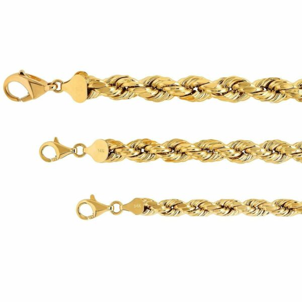 REAL 14K Yellow Gold 6-9.5mm Rope Chain Twist Link Necklace MenWomen Sz 22