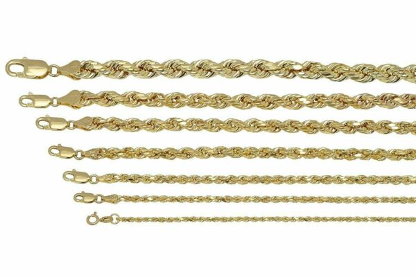 Real 10K Yellow Gold 2mm-7mm Diamond Cut Rope Chain Pendant Necklace 16