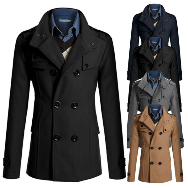 Men Double Breasted Trench Coat Winter Outwear Jacket Formal Overcoat Peacoat