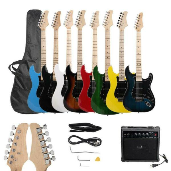 New 8 Colors Full Size Electric Guitar w Amp Case and Accessories Pack Beginner
