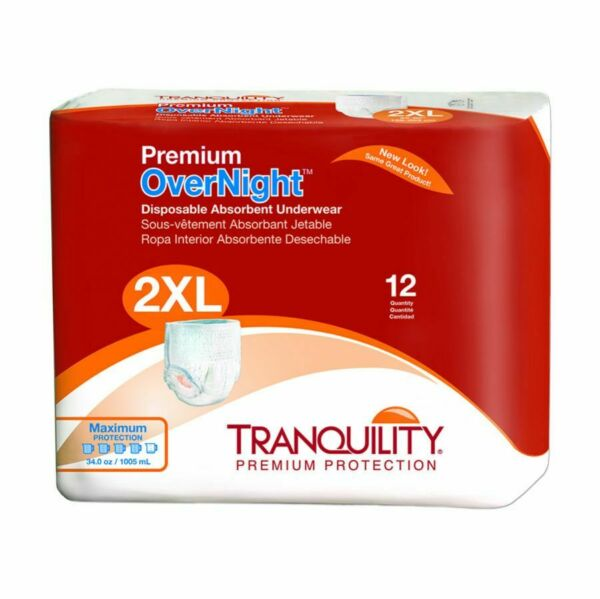 Tranquility Premium OverNight Adult Absorbent Underwear 2XL 62''-80'' -96Pack