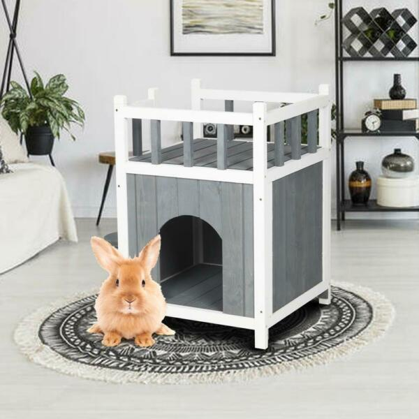 Outdoor Wood Cat House Pet Home Cat Shelter Condo with Stair Balcony Shelter $47.79