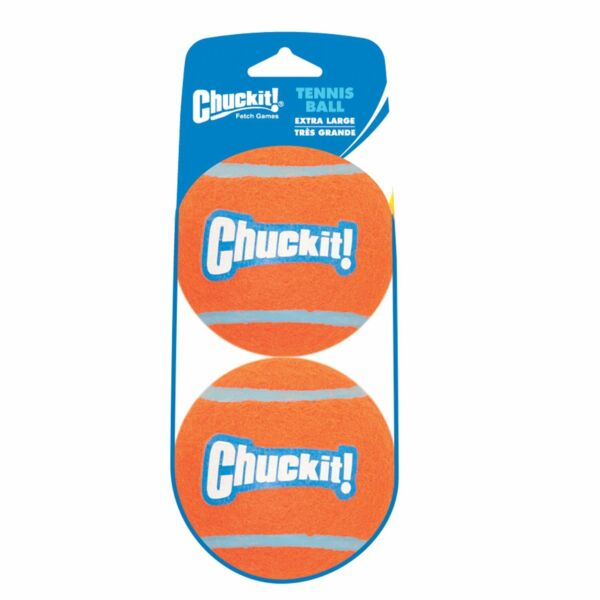 Chuckit TENNIS BALL Dog Fetch Toy X-LG 2 pack High Visibility Large Dog 3.5 inch