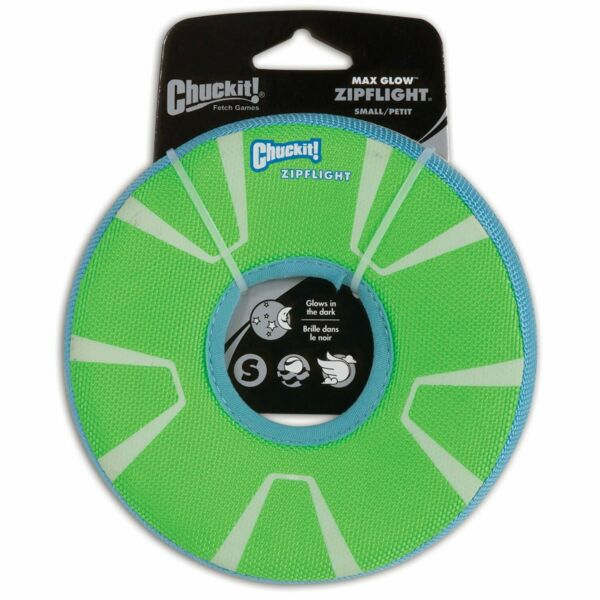 Chuckit ZIPFLIGHT Dog Fetch Toy Max Glow In The Dark Frisbee Ring Small $10.56