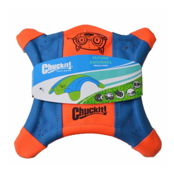 Chuckit! FLYING SQUIRREL Dog Fetch Toy Floating Flyer Glowing Paws SMALL 9-inch