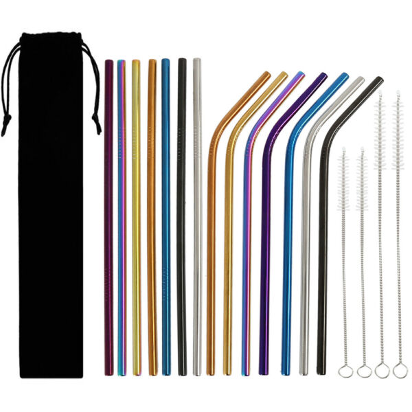14pcs Reusable Stainless Steel Metal Drinking Straws Bent  Straight Multi-Color