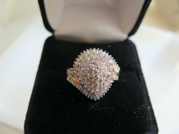 10k Solid 2-Tone Gold 108 Natural Diamonds Cluster Ring Size 7 (#193)