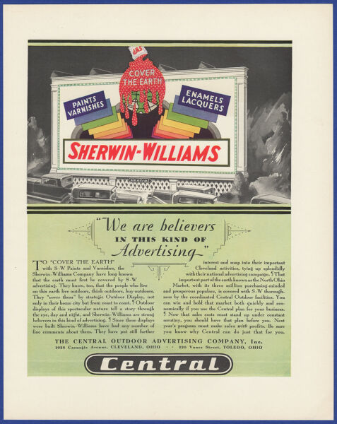 Vintage 1930 CENTRAL Outdoor Advertising Co. Billboard Sherwin Wiliams Print Ad $16.95