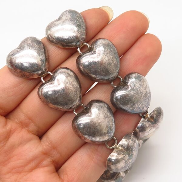 925 Sterling Silver Vintage Heavy Hollow Puffy Heart Chain Necklace 16