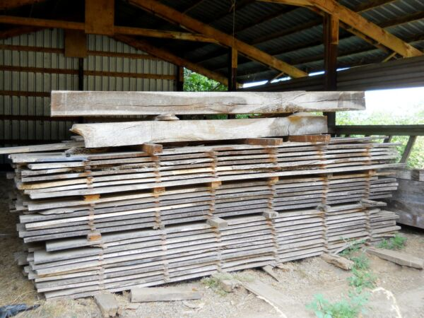 Huge Lot Rustic Live Edge & Milled White Oak Wood Furniture Slab & Beams 2000 Ft