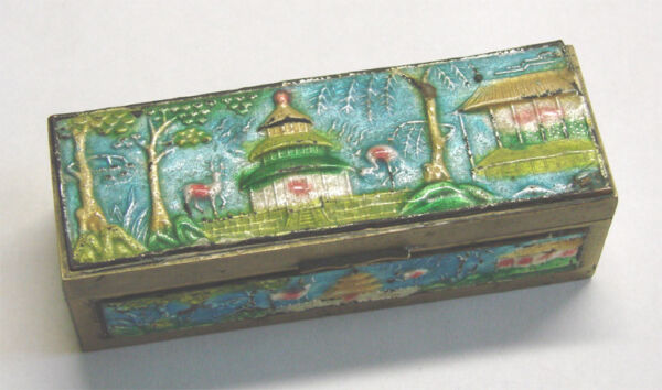 Vintage Chinese Brass & Enamel Stamp Box