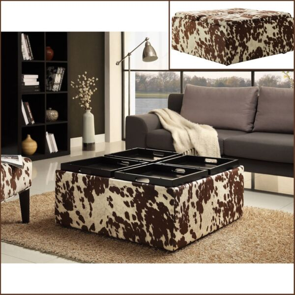 Large Square Country Rustic Coffee Table Storage Ottoman FAUX COW Upholstery