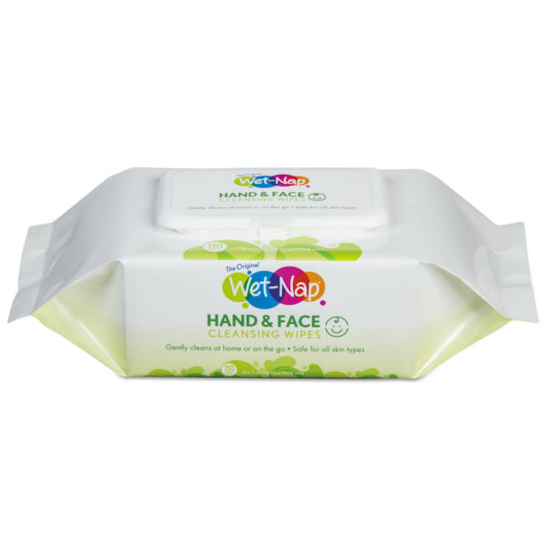 Wet-Nap Hands and Face Cleansing Wipes 7 x 6 White Fragrance-Free 110Pk 6 Pk