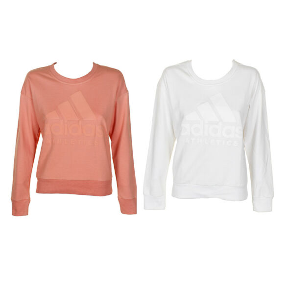 Adidas Ladies Classic Logo Graphic Cotton Crew Neck Sweatshirt