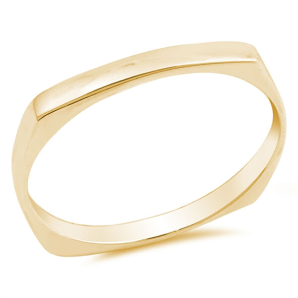 Yellow Gold Tone Squared Cigar Stackable Ring Sterling Silver Band Sizes 4 10 $13.59