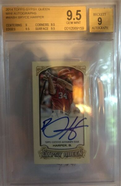 2014 TOPPS GYPSY QUEEN BRYCE HARPER MINI AUTO 0910! NATIONALS RARE!!