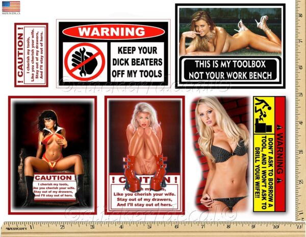 Funny Warning Stickers - Complete set of 6 Decals - Sexy Girl Tool Box MADE USA