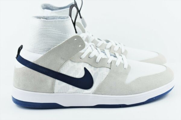 Nike SB Zoom Dunk High ELT QS Mens Multi Size Skate Shoes 918287 141 White Navy