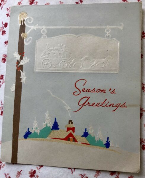 Vintage 1940s Glittered Christmas Greeting Card Red House Snow Stage Coach