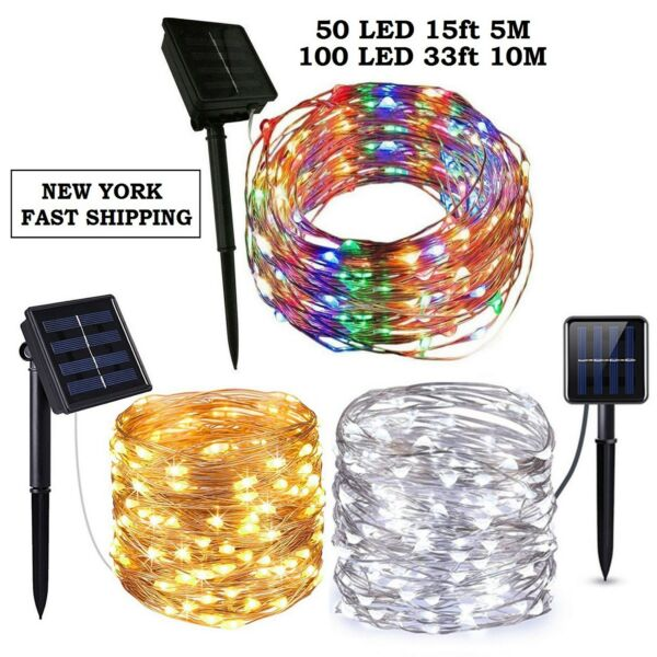 Outdoor Solar Powered 5M 50 10M 100 20M 200 LED Copper Wire Light String Xmas