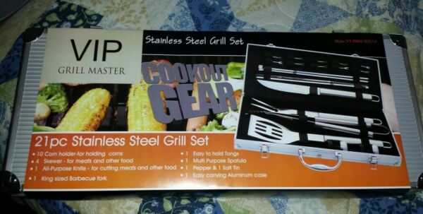 VIP GRILL MASTER 21 PCS STAINLESS STEEL BBQ GRILL SET COOKOUT GEAR Endometriosis