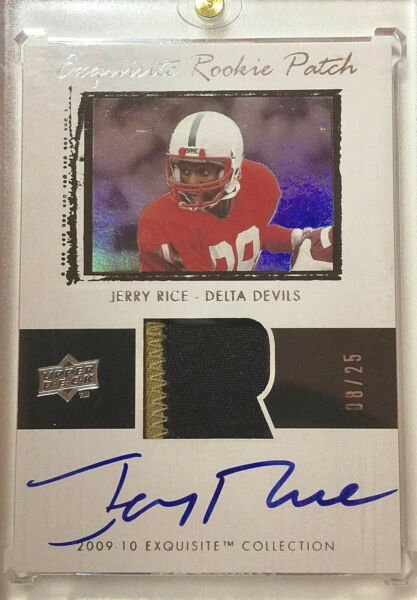 2009-10 UD Exquisite JERRY RICE Rare Flashback Rookie Auto Patch RC #0825