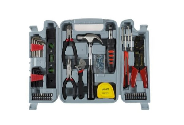 130 Piece Home Repair Tool Set Kit Box for Woman or Man  Red  Blk