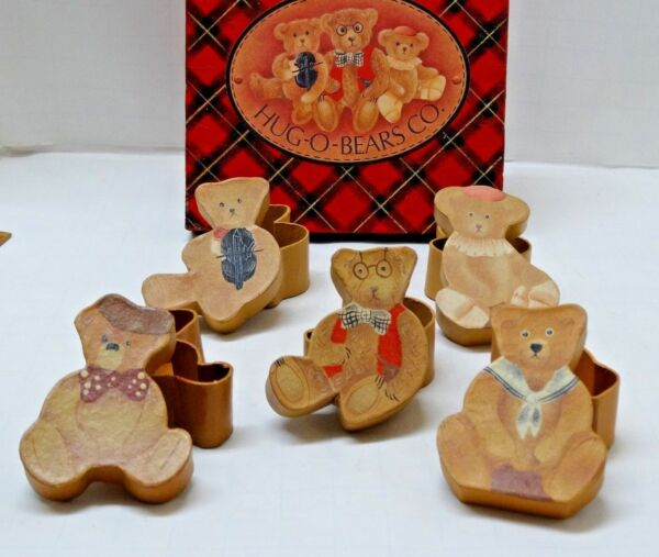 Boxed Set of 5 VINTAGE figural TEDDY BEAR SHAPED BOXes unique for Bear Lovers $39.99