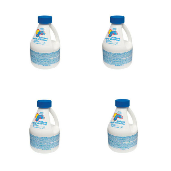 4 Pack In The Swim Instant Liquid Chlorine for Swimming Pools - 4 x 1 lb Bottles