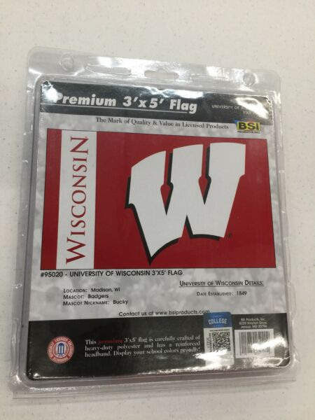 Wisconsin Badgers Flag 3' x 5' Polyester 1 Sided Repackaged See Full Description