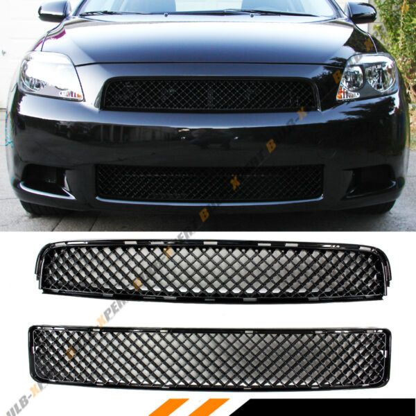 FOR 2005 10 SCION TC PAINTED BLK BADGELESS FRONT UPPER LOWER ABS MESH GRILL $59.99