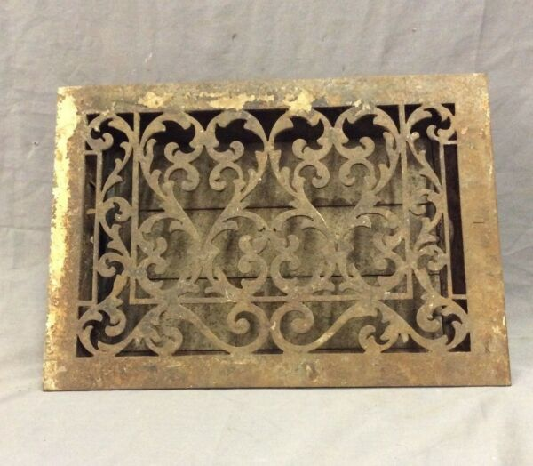 Antique Cast Iron Decorative Hearts Heat Grate Floor Register 10X14 Vtg 14-19D