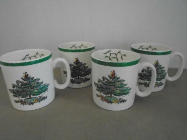 Spode Christmas Tree 4 Four Coffee Mugs Plate England S 3324 E Green Trim