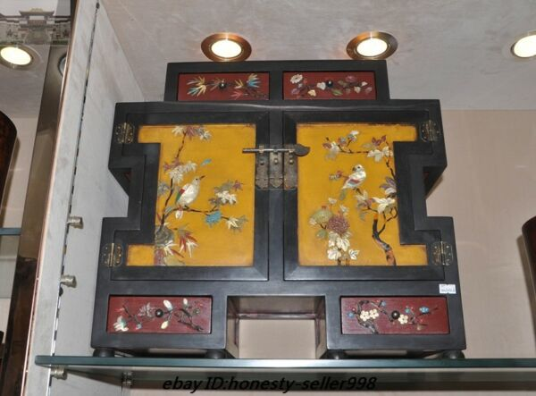 Old Dynasty lacquerware Wood inlay Turquoise Shell Storage drawer Cabinet chest