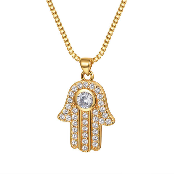 Religious Hamsa Hand Pendant Necklace Zirconia 18K Gold Plated Jewelry for Women