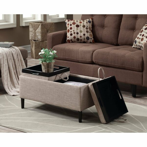 Storage Ottoman Coffee Table Beige Upholstery Reversible Tray Top Living Room