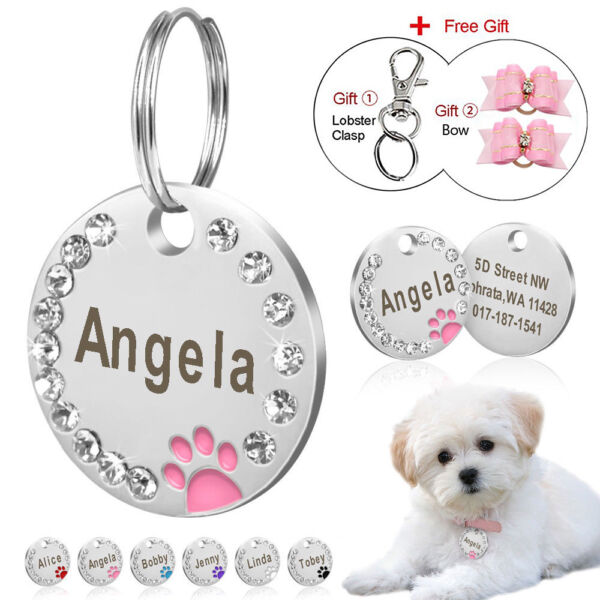 Personalized Dog Tags Paw Rhinestone Pet Cat ID Name Tag Engraved Free Hair Bows $4.98
