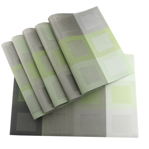Green Placemats for Kitchen TableSet of 6 Woven Vinyl Washable Decorative Mats