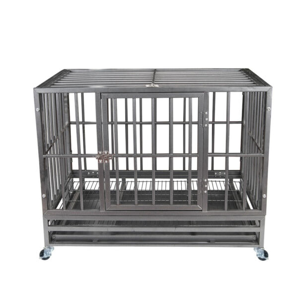 37quot; Gray Heavy Duty Dog Cage Strong Metal Crate Kennel Playpen w Wheelsamp;Tray