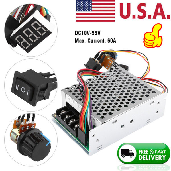 10-55V 60A 5000W Reversible DC Motor Speed Controller PWM Control Soft Start US