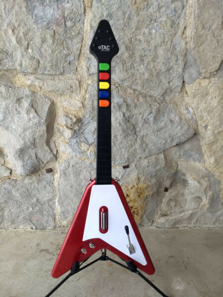PS2 TAC Antcommandos Flying V Red Replacement Guitar Controller $999.00