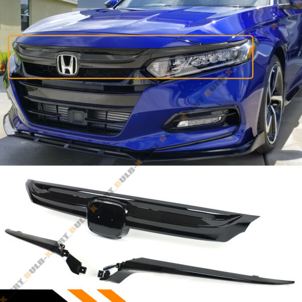 For 2018 2020 10th Gen Honda Accord Sedan JDM Sport Style Grille Glossy Black