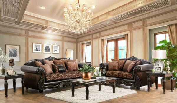 Lincoln Traditional Brown Sofa & Loveseat Set In Premium Leather Air Fabric
