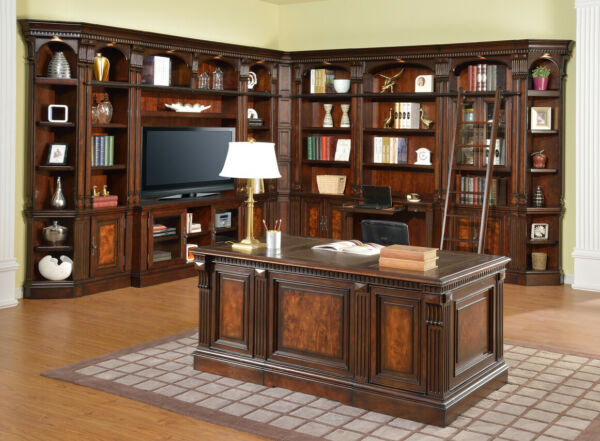 Corsica Home Office L Shaped Library Wall w 60